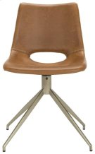 Danube Midcentury Modern Leather Swivel Dining Chair - Light Brown / Brass Product Image