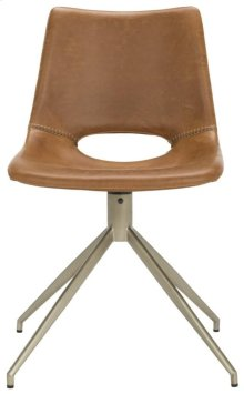 Danube Midcentury Modern Leather Swivel Dining Chair - Light Brown / Brass