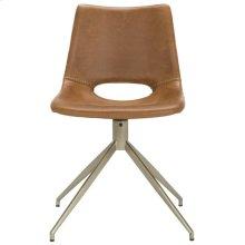 Danube Midcentury Modern Leather Swivel Dining Chair - Light Brown / Brass