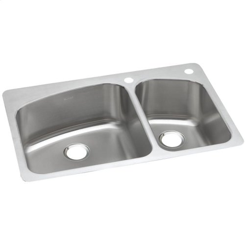 "Dayton Stainless Steel 33"" x 22"" x 8"", 60/40 Double Bowl Dual Mount Sink"