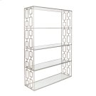 Hammered Silver Leaf Etagere W. Clear Glass Shelves Product Image