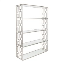 Hammered Silver Leaf Etagere W. Clear Glass Shelves