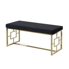 Black/gold Velveteen Bench, Kd