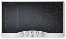 "Stainless Steel/White Glass 36"" Electric Radiant Cooktop - DECU (36"" wide cooktop)"