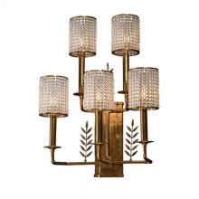 Five Arm Brass Wall Sconce, Paua Shell Inlay, Glass Bead Shades