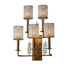 Five Arm Brass Wall Sconce, Paua Shell Inlay, Glass Bead Shades