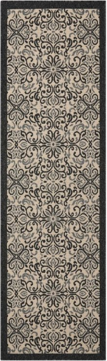 Caribbean Crb12 Ivory/charcoal Runner 2'3'' X 7'6''
