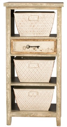 Signature 3 Basket Stand With 1 Drawer - Rustic White and Gray