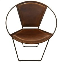 Hoop Armchair  Casual Chestnut Leather Bound & Metal Frame Accent Chair  Made in India