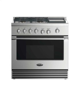 """36"""" Dual Fuel Range: 4 Burners With Griddle"""