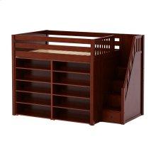 High Loft w/ Staircase & 2 x 5 Shelf Bookcases : Full : Chestnut : Panel