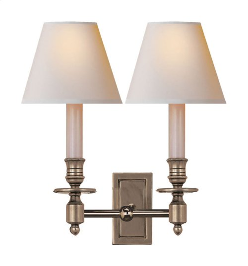 Visual Comfort S2212AN-NP Studio French 2 Light 12 inch Antique Nickel Decorative Wall Light in Natural Paper