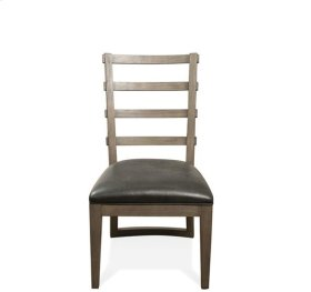 Precision Upholstered Ladderback Side Chair Gray Wash finish