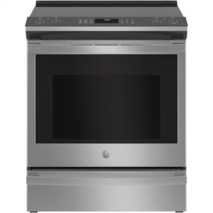 "GE Profile30"" Smart Slide-In Electric Convection Fingerprint Resistant Range"