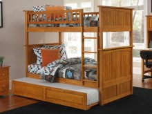 Nantucket Bunk Bed Twin over Twin with Raised Panel Trundle Bed in Caramel Latte