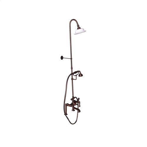 Tub Filler with Diverter Hand-Held Shower and Riser - Metal Lever 2 Handles - Oil Rubbed Bronze