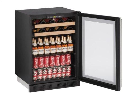 "24"" Beverage Center Stainless Frame (Lock) Field Reversible"