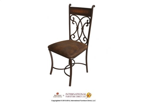 Hand Forged chair with Brown Microfiber Seat**