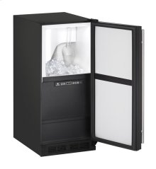 "1000 Series 15"" Clear Ice Machine With Black Solid Finish and Field Reversible Door Swing"