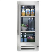 15 Inch Stainless Glass Door Undercounter Refrigerator - Left Hinge Stainless Glass