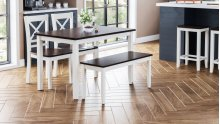 Asbury Park 4-pack - Table With 2 Chairs and Bench - White /autumn