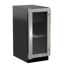 "15"" Marvel Clear Ice Machine with Arctic Illuminice™ and Glass Door - Gravity Drain - Stainless Steel Framed Glass Door, Left Hinge"