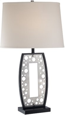 Table Lamp, Ps/black/white Fabric Shade, E27 Cfl 23w