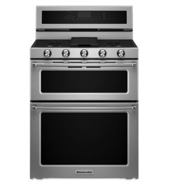 KitchenAid® 30-Inch 5 Burner Dual Fuel Double Oven Convection Range - Stainless Steel