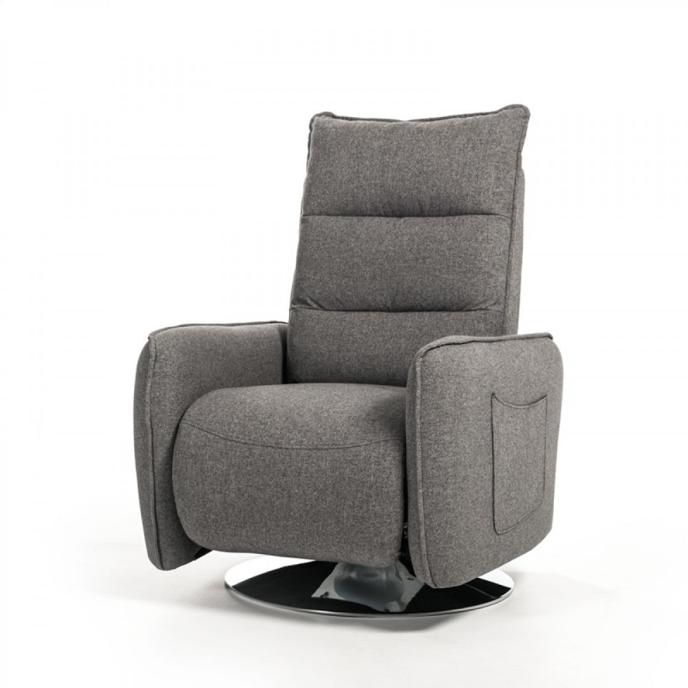 Divani Casa Fairfax Modern Grey Fabric Recliner Chair