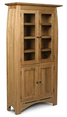 Aspen Tall Bookcase, Glass Doors on Top and Wood Doors on Bottom, Aspen Tall Bookcase with Inlay, Glass Doors on Top and Wood Doors on Bottom, 5-Adjustable Shelves