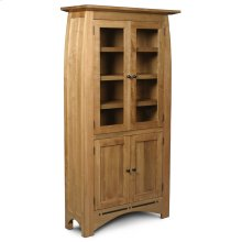 Aspen Tall Bookcase, Glass Doors on Top and Wood Doors on Bottom, Aspen Tall Bookcase with Inlay, Glass Doors on Top and Wood Doors on Bottom, 6-Adjustable Shelves