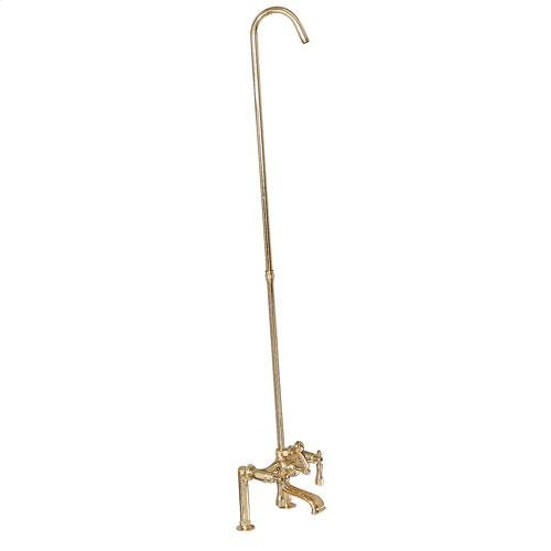 Tub Rim-Mounted Filler with Diverter and Riser - Lever / Polished Brass