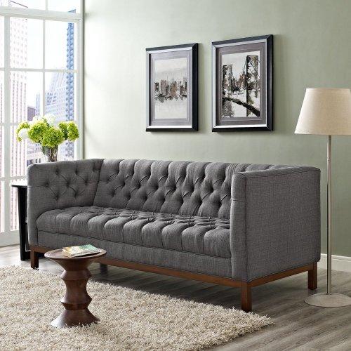 Panache Upholstered Fabric Sofa in Gray