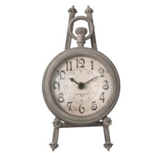 Distressed Grey Round Pocket Watch Clock on Stand set/2