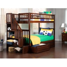 Woodland Staircase Bunk Bed Twin over Twin with Raised Panel Bed Drawers in Walnut