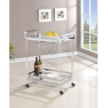 Traditional Clear Acrylic and Chrome Serving Cart