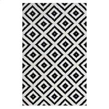 Alika Abstract Diamond Trellis 5x8 Area Rug in Black and White