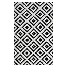 Alika Abstract Diamond Trellis 5x8 Area Rug in Black and White