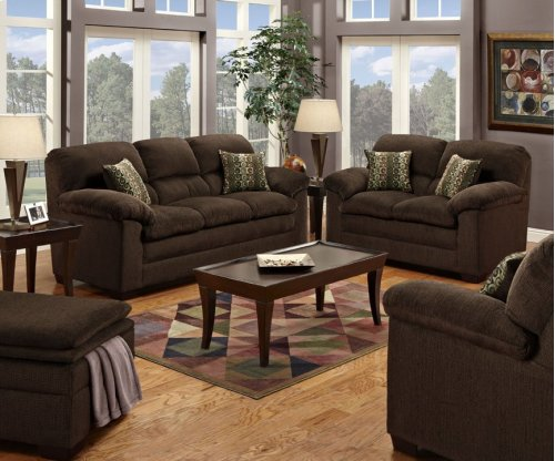 """Plato 3684-03 86"""" Sofa with Fabric Upholstery, Plush Padded Arms, Removable Seat Cushions and Tapered Legs in Chocolate"""