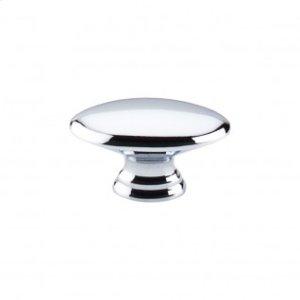 Flat Oval Knob 1 1/2 Inch - Polished Chrome