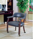 GUEST CHAIR,NAVY VINYL W/ CASTERS, MAHOGANY Product Image