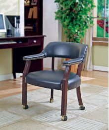 GUEST CHAIR,NAVY VINYL W/ CASTERS, MAHOGANY