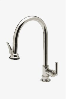Henry One Hole Gooseneck Kitchen Faucet with Pull-Down Spray and Metal Lever Handle STYLE: HNKM70