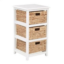 Seabrook Three-tier Storage Unit With White Finish and Natural Baskets