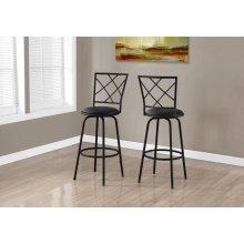 BARSTOOL - 2PCS / SWIVEL / BLACK /BLACK LEATHER-LOOK SEAT