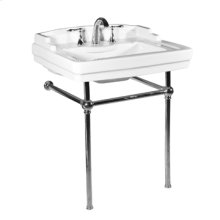 White NEO-VENETIAN Console Lavatory Metal Stand with Polished Chrome Metal Finish