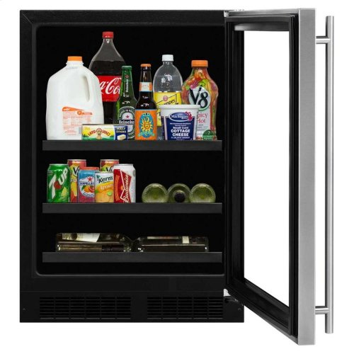 """24"""" Beverage Center with Convertible Shelves - Solid Overlay Panel - Integrated Left Hinge"""
