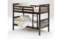 Sadler Merlot Twin over Twin Bunk Bed