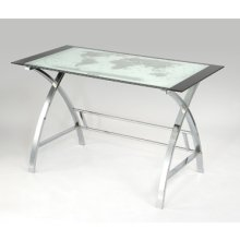 World Map Printing Curved X-Sided Computer Desk