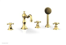 HENRI Deck Tub Set with Hand Shower with Cross Handles 161-48 - Polished Gold